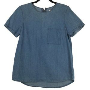 Madewell Chambray Denim Short Sleeve Top in Indigo